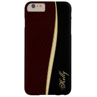 Burgundy Leather Gold iPhone 6 Plus Monogram Case