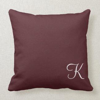 Burgundy Leather Monogram Cushions