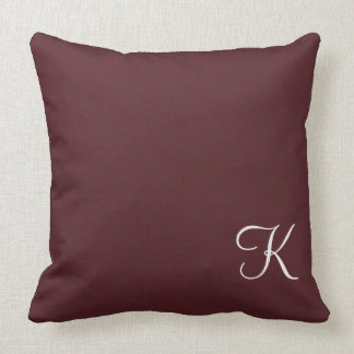 Burgundy Leather Monogram Throw Pillow