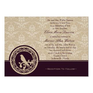 Burgundy Lovebird Damask Wedding Invitation