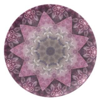 Burgundy Magenta Circular Spiked Pattern Dinner Plates