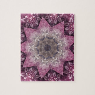 Burgundy Magenta Circular Spiked Pattern Puzzle