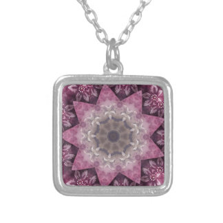 Burgundy Magenta Circular Spiked Pattern Silver Plated Necklace