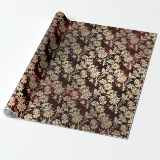Burgundy Marble Sparkly Black Floral Gold Faux Wrapping Paper