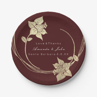 Burgundy Maroon Champaign Gold Floral Wreath Lux Paper Plate