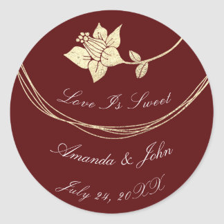 Burgundy Maroon Flower Save the Date Love Crimson2 Classic Round Sticker