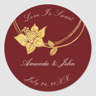 Burgundy Maroon Flower Save the Date Love Crimson Classic Round Sticker