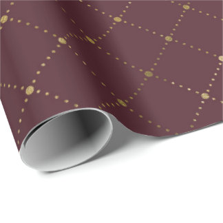 Burgundy Maroon Gold Crystals Grill Geometry Glam Wrapping Paper