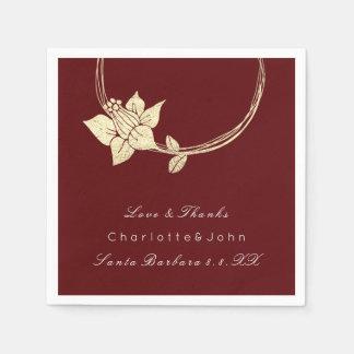 Burgundy Maroon Gold Floral Event Bridal Holidays Disposable Napkin