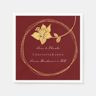 Burgundy Maroon Gold Floral Event Bridal Red Thank Paper Napkin