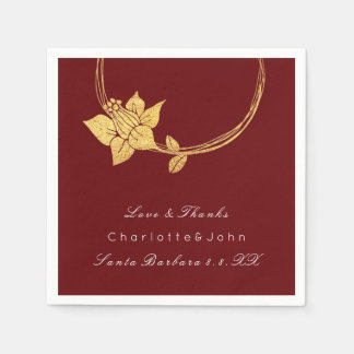 Burgundy Maroon Gold Floral Event Bridal Wedding 2 Paper Napkin