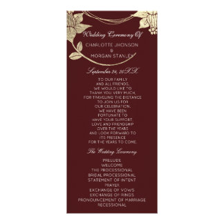 Burgundy Maroon Gold Floral Event Wedding Program Rack Card