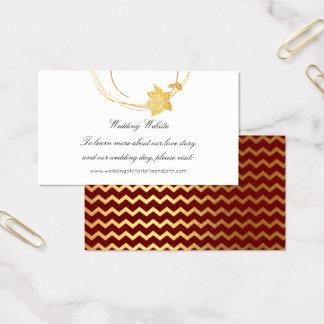 Burgundy Maroon Gold Floral Wedding Website Stripe Business Card