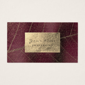 Burgundy Maroon Gold Sapphire Sepia Foil Botanical Business Card