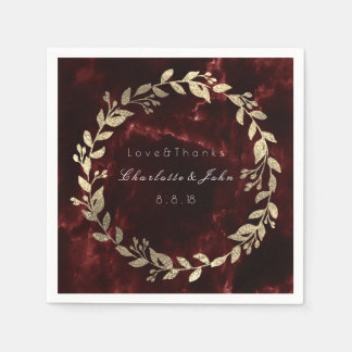 Burgundy Maroon Gold Stone Marble Wreath Name Paper Serviettes