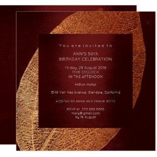 Burgundy Maroon Leaf Gold Birthday Party 13 Cm X 13 Cm Square Invitation Card
