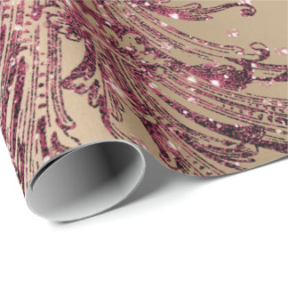 Burgundy Maroon Pink Rose Gold Royal Floral Hearts Wrapping Paper