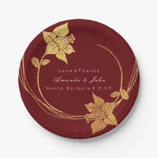 Burgundy Maroon Wedding Gold Floral Wreath Red Paper Plate