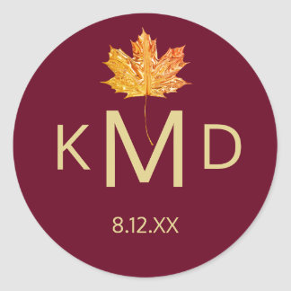 Burgundy Marsala Fall Autumn Monogram Wedding Classic Round Sticker