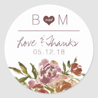 Burgundy Marsala Fall Floral Monogram Wedding Classic Round Sticker