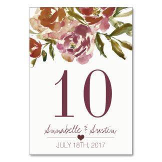 Burgundy Marsala Fall Floral Wedding Table Card