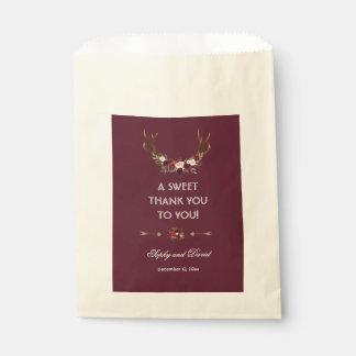 Burgundy Marsala Floral Antlers THANK YOU Favour Bag