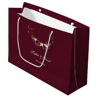 Burgundy Marsala Floral Antlers Wedding Large Gift Bag