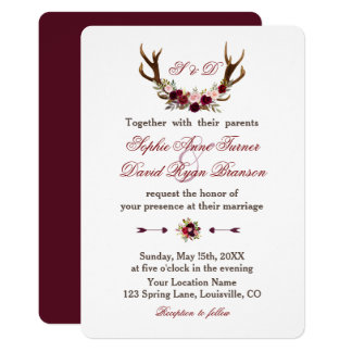 Burgundy Marsala Floral Antlers Wedding Monogram Card