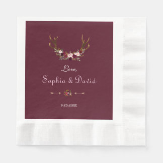 Burgundy Marsala Floral Antlers Wedding Paper Serviettes