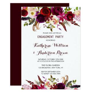Burgundy Marsala Floral Autumn Engagement Party Card