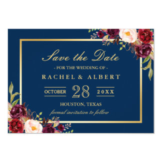 Burgundy Marsala Floral Blue Wedding Save the Date Card