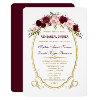 Burgundy Marsala Floral Fall Rehearsal Dinner Card