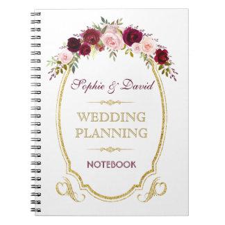 Burgundy Marsala Floral Fall Wedding Planner Notebooks