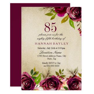 Burgundy Marsala Floral Gold 85th Birthday Invite