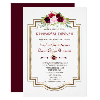 Burgundy Marsala Floral Gold Fall Rehearsal Dinner Card