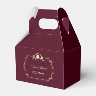 Burgundy Marsala Floral Gold Fall Wedding Favour Box
