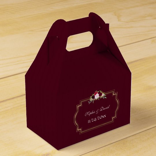 Burgundy Marsala Floral Gold Fall Wedding Favour Box