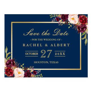 Burgundy Marsala Floral Gold Wedding Save the Date Postcard
