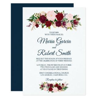 Burgundy Marsala Floral - Marine Blue Wedding Card