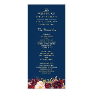 Burgundy Marsala Floral Navy Blue Wedding Program Rack Card