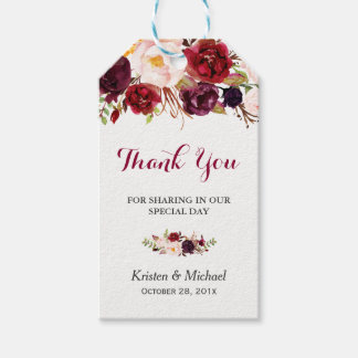 Burgundy Marsala Floral Wedding Favor Thank You