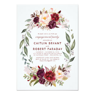 Burgundy - Marsala Floral Wreath Engagement Party Card