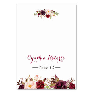 Burgundy Marsala Flowers Wedding Place Escort Card