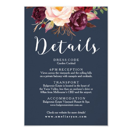 Burgundy Marsala Navy Wedding Details Card