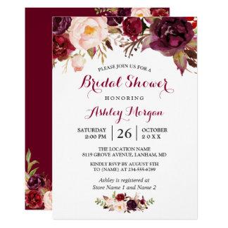 Burgundy Marsala Red Floral Autumn Bridal Shower Card