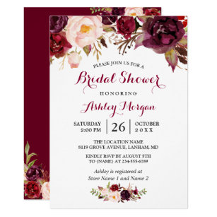 23b4309a502cc Burgundy Marsala Red Floral Autumn Bridal Shower Invitation