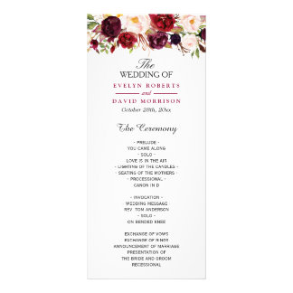 Burgundy Marsala Red Floral Chic Wedding Program Rack Card