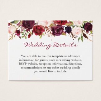 Burgundy Marsala Red Floral Wedding Details Insert