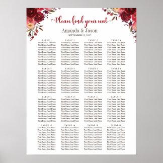 Burgundy Marsala Red Floral Wedding seating chart