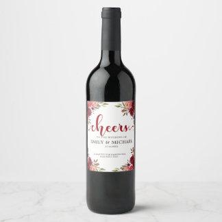 Burgundy Marsala Red Floral Wedding wine label